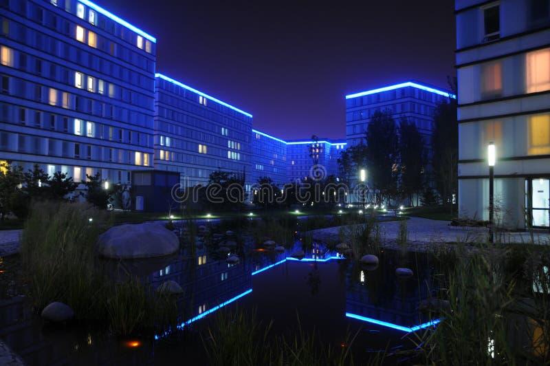 Vue de nuit tranquille de Shangdi MOMA image stock