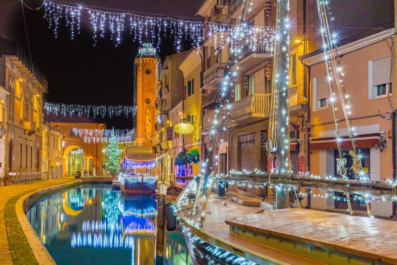 Vue de nuit de ville de lagune image libre de droits