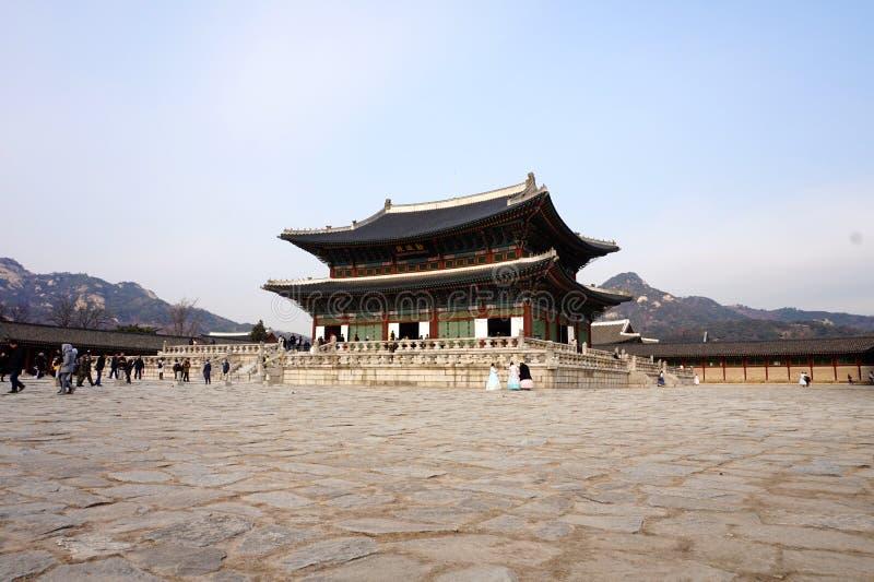Vue de palais de Gyeongbokgung, Corée du Sud images stock