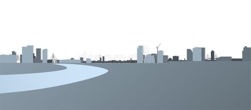 Vue de panorama de paysage urbain, bâtiment de ville à travers la rivière illustration stock