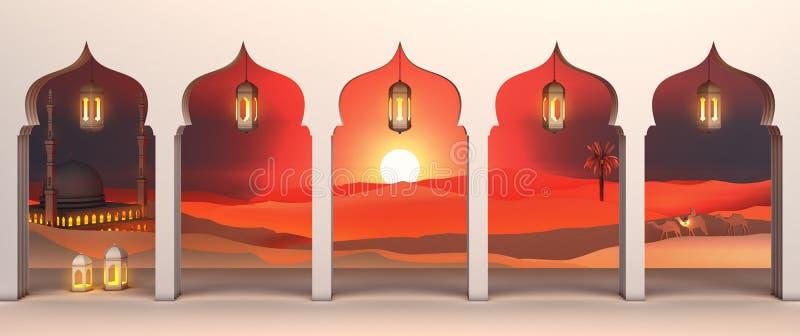 Vue de papier d'art de fenêtre arabe de désert de coucher du soleil avec la mosquée, lanterne, chameau, palmier dattier illustration de vecteur