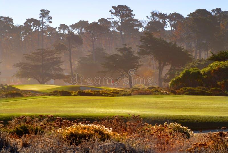 Vue de parcours ouvert de terrain de golf dans Pebble Beach la Californie photo libre de droits