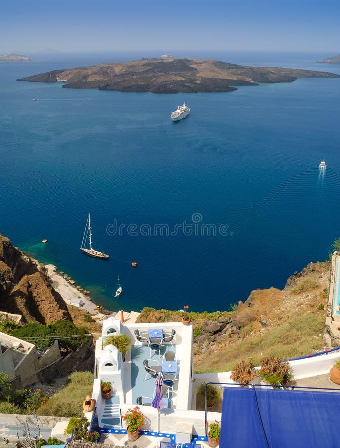 Vue de patio de Santorini images libres de droits
