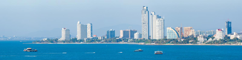 Vue de Pattaya de la surveillance, panorama photographie stock libre de droits