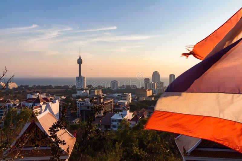 Vue de Pattaya sur le coucher du soleil en Thaïlande photos libres de droits