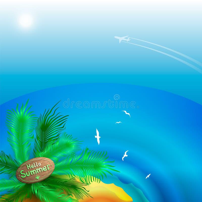 Vue de paysage d'été de l'horizon de mer et de la plage avec des palmiers Départ des avions vers l'île illustration de vecteur