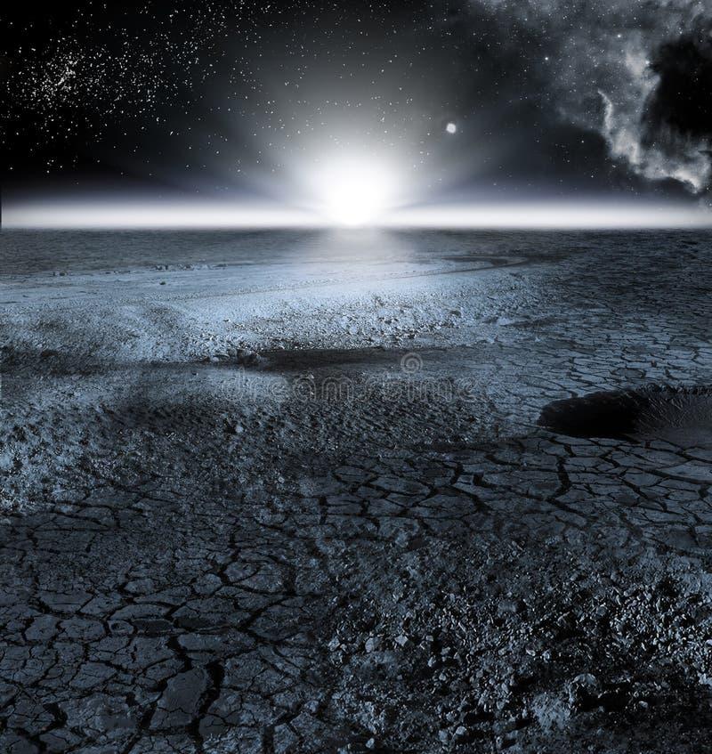 Vue de paysage de lune, ou paysage lunaire photographie stock