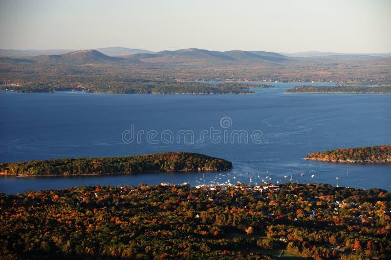 Vue de paysage de matin de port de barre en parc national d'Acadia photos libres de droits