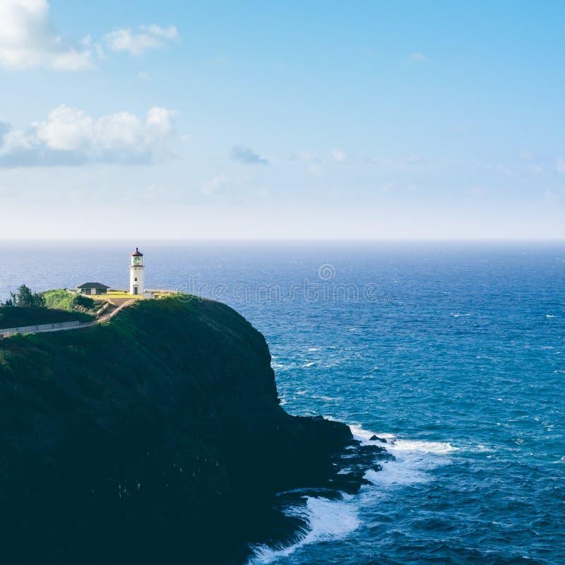 Vue de paysage de phare de Kilauea sur Kauai images stock