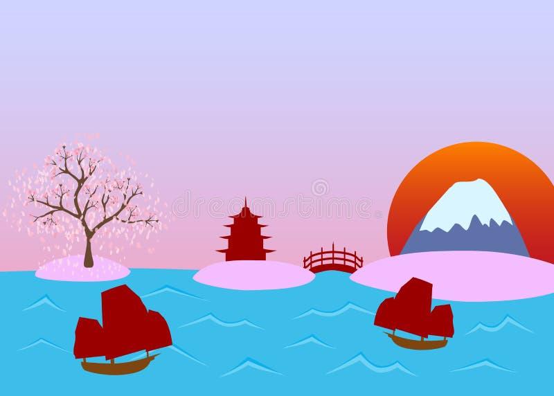 Vue de paysage de vecteur du Japon illustration stock