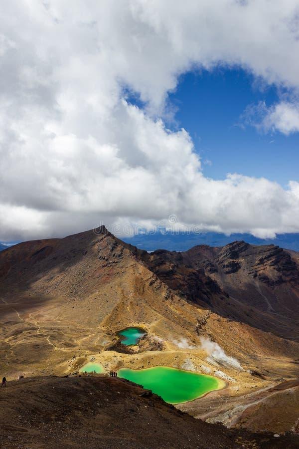Vue de paysage des lacs verts colorés et du paysage volcanique avec des randonneurs marchant par, parc national de Tongariro, nou images stock