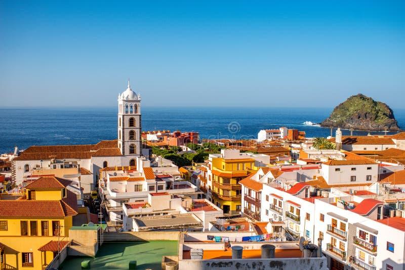 Vue de paysage urbain de ville de Garachico images libres de droits