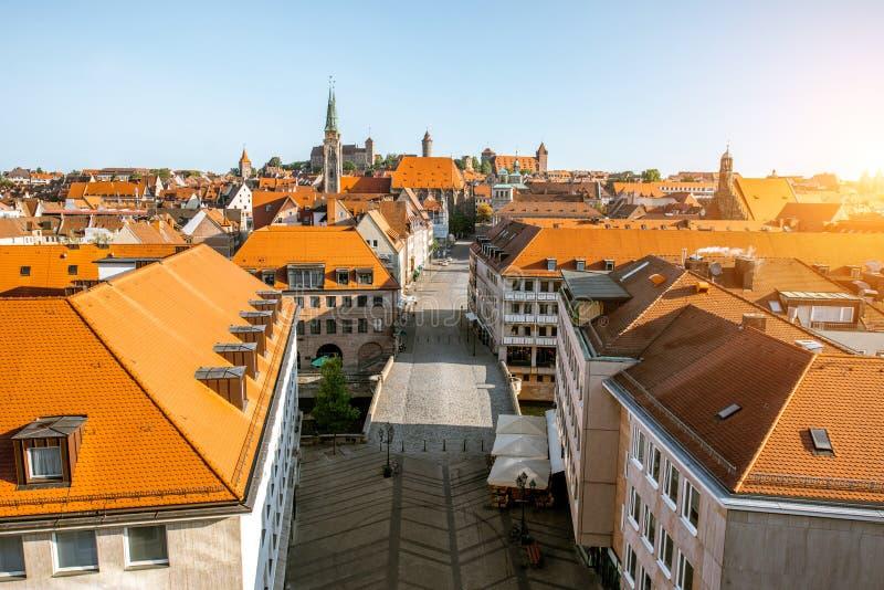 Vue de paysage urbain de matin sur la ville de Nurnberg, Allemagne photo stock