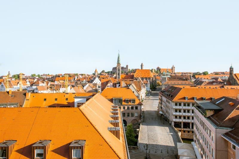 Vue de paysage urbain de matin sur la ville de Nurnberg, Allemagne photo libre de droits