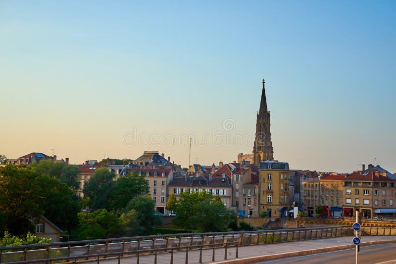 Vue de paysage urbain de Metz France au temple de Garnison image libre de droits