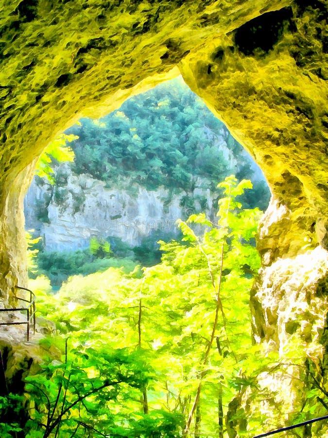 Vue de peinture d'aquarelle d'une caverne sur le mur de montagne image libre de droits