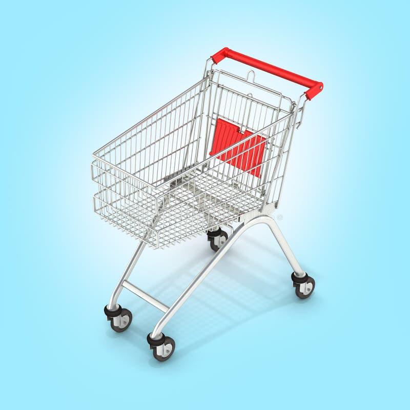 Vue de perspective de caddie de supermarch? sur le fond bleu 3d de gradient illustration stock