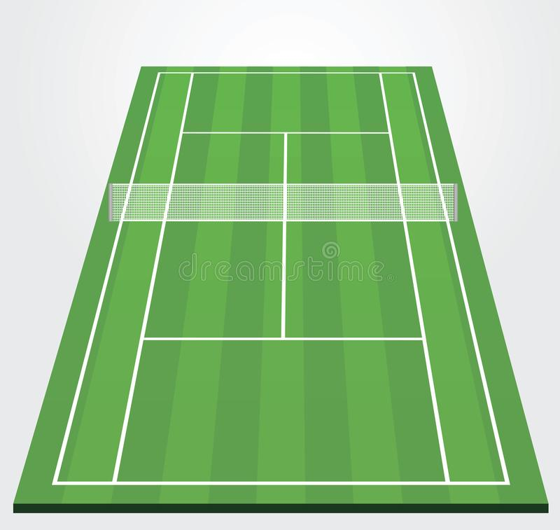 Vue de perspective de champ de tennis illustration libre de droits