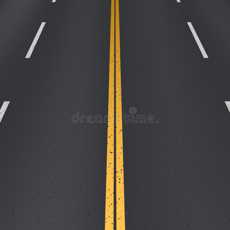 Vue de perspective de route d'asphalte illustration de vecteur