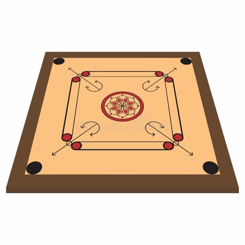 Vue de perspective de divers panneau de jeu de famille, panneau de carrom illustration de vecteur