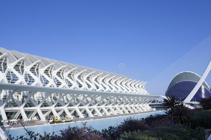 Vue de perspective de la ville de la science à Valence image libre de droits