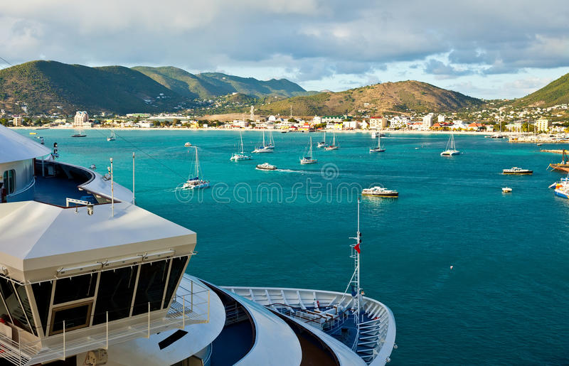 Vue de Philipsburg, St Maarten photo libre de droits