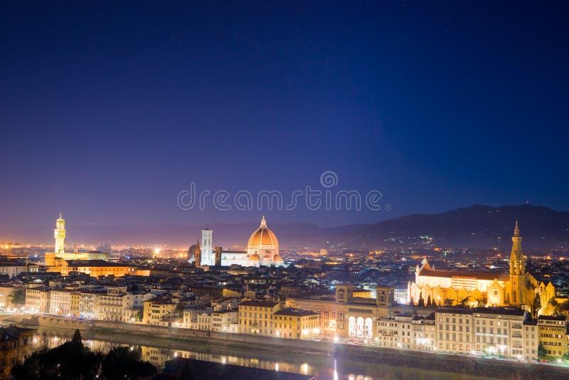 vue de piazzale de nuit de Florence Michaël Angelo photo stock