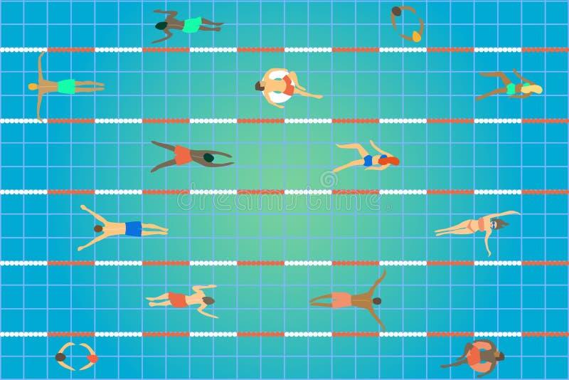 Vue de piscine première Groupe de personnes de différents âge, genre et nationalités nageant au centre de sport illustration stock