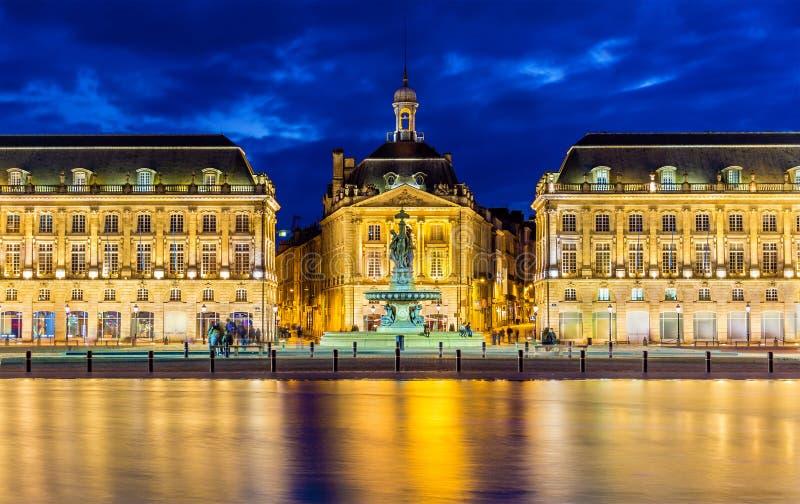 Vue de Place de la Bourse en Bordeaux photos libres de droits