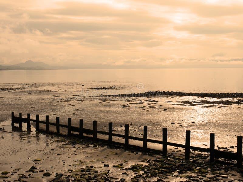 Vue de plage de Pwllheli image libre de droits