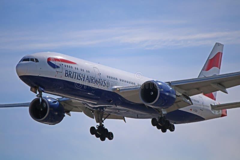 Vue de plan rapproché de British Airways Boeing 777-200 photographie stock