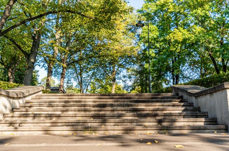 Vue de plan rapproché des escaliers concrets en parc en Sunny Autumn Day With Golden Leaves dans les arbres, Lettonie, l'Europe,  photographie stock