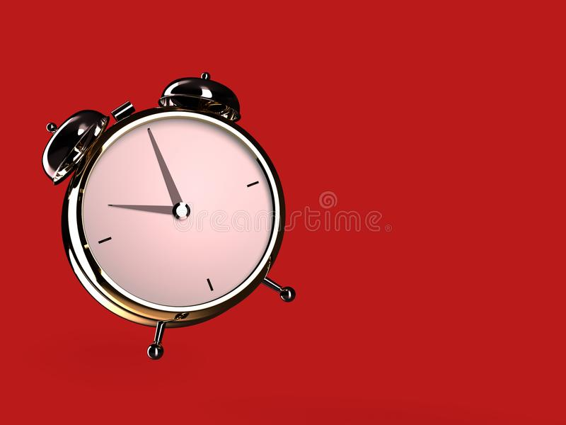 Vue de plan rapproché de réveil d'or sur le fond rouge illustration de vecteur