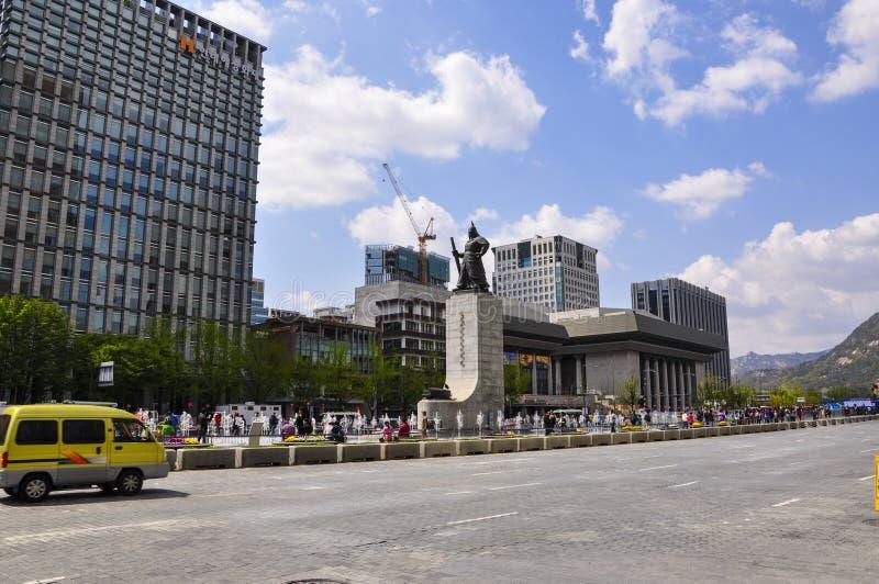 Vue de plaza de Gwanghwamun, également connue sous le nom de place de Gwanghwamun images stock