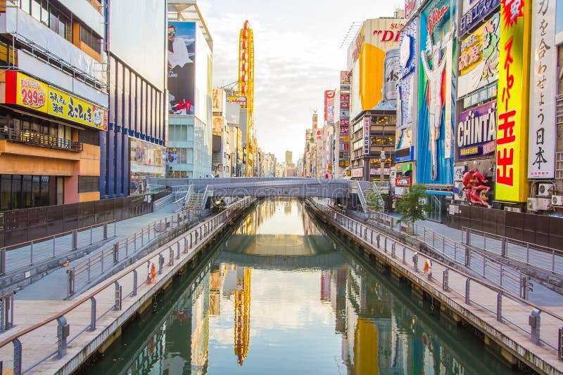 Vue de point de repère de canal de Dotonbori d'Osaka, Japon image libre de droits