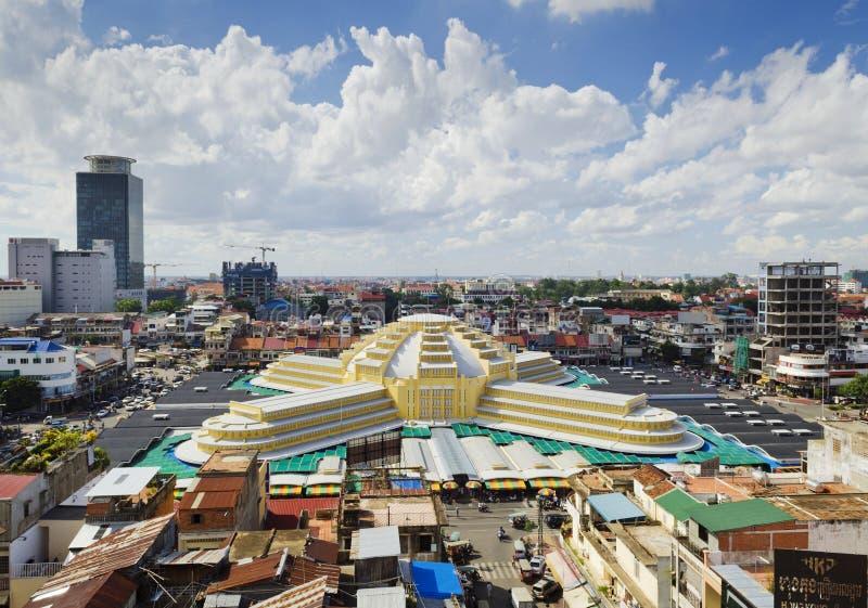 Vue de point de repère du marché central dans la ville Cambodge de Phnom Penh photo libre de droits