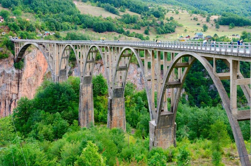 Vue de pont de Djurdjevic, canyon de Tara River, Monténégro photographie stock libre de droits