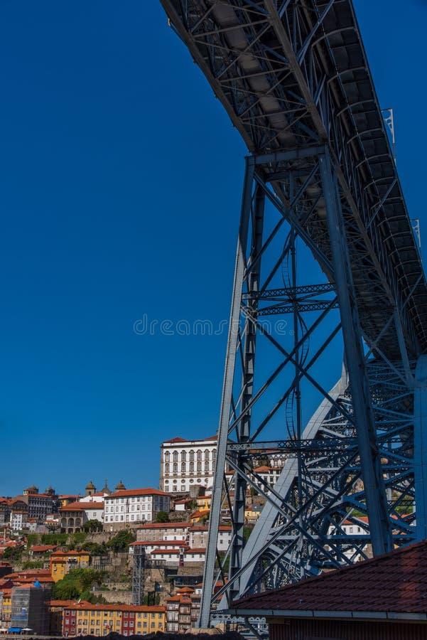 Vue de pont de Dom Luis I à Ribeira Porto dans Portuga photo libre de droits
