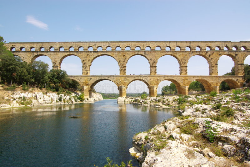 Vue de Pont du le Gard photo stock