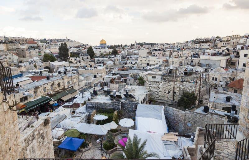 Vue de porte de Damas à la vieille ville de Jérusalem l'israel photographie stock libre de droits