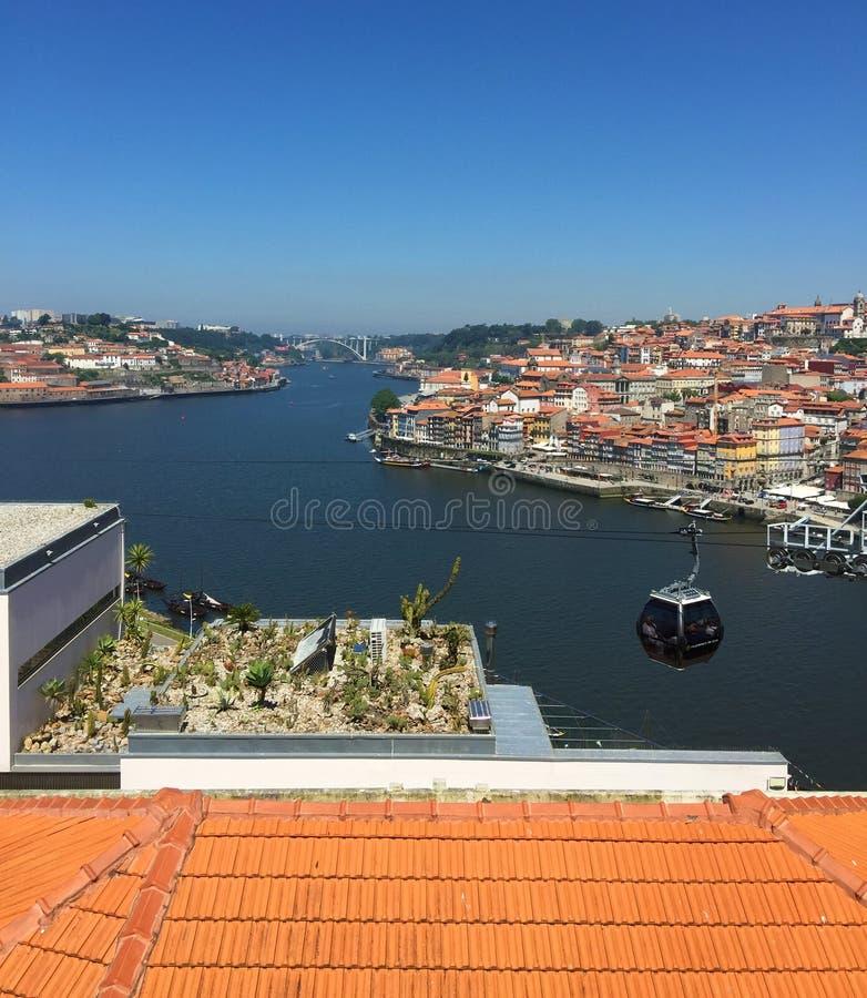 Vue de Porto Portugal de rivière de Duoro de Teleferico de Gaïa photographie stock