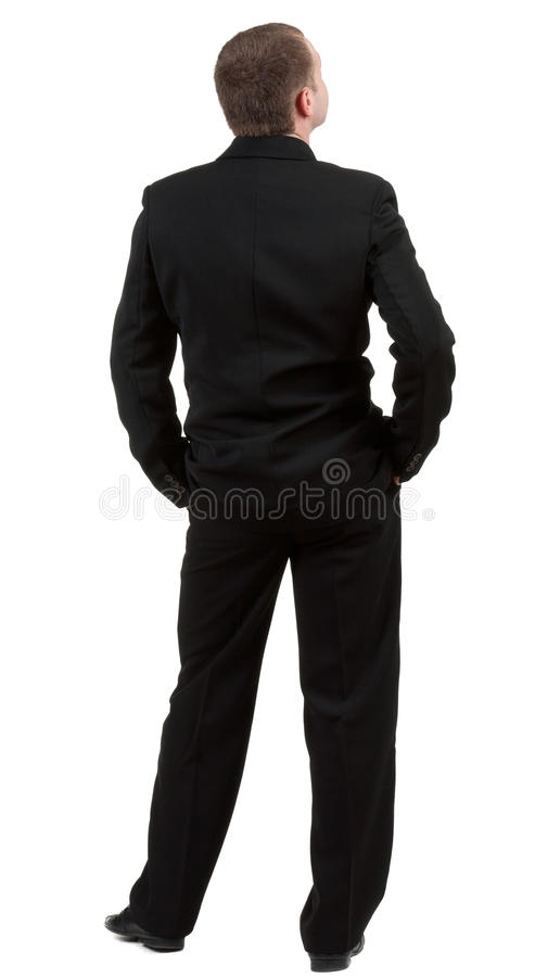 Vue de postérieur de personne. Vue arrière. L'homme d'affaires pense à l'avenir. photo libre de droits
