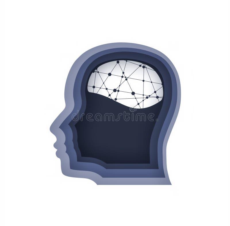 Vue de profil d'avatar d'homme Silhouette masculine de visage illustration de vecteur