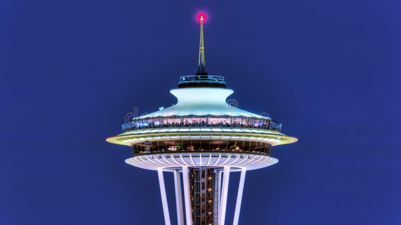 Vue de Puget Sound avec les cieux bleus et Seattle du centre, Washington, Etats-Unis images stock