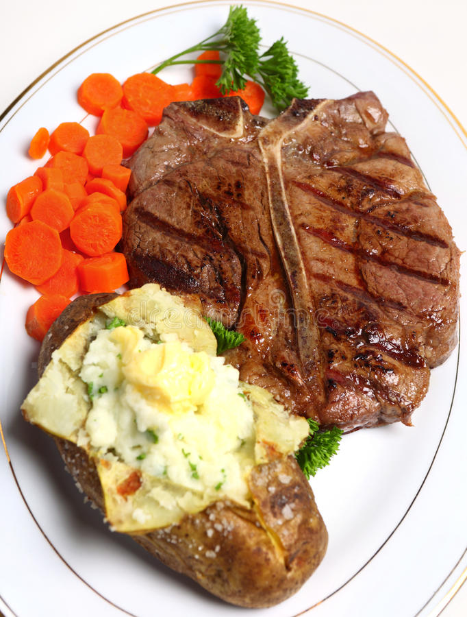 Vue de repas de bifteck de Porterhouse première images libres de droits
