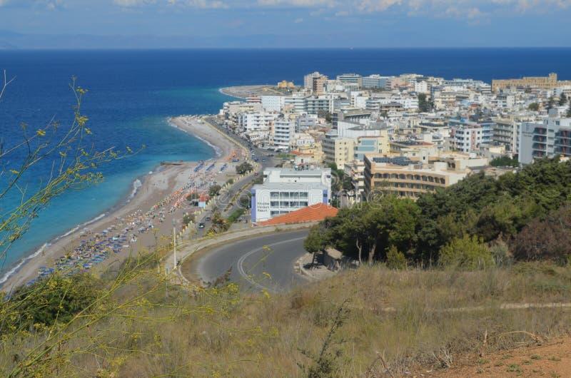 Vue de Rhodes Town In Rhodes Greece image stock