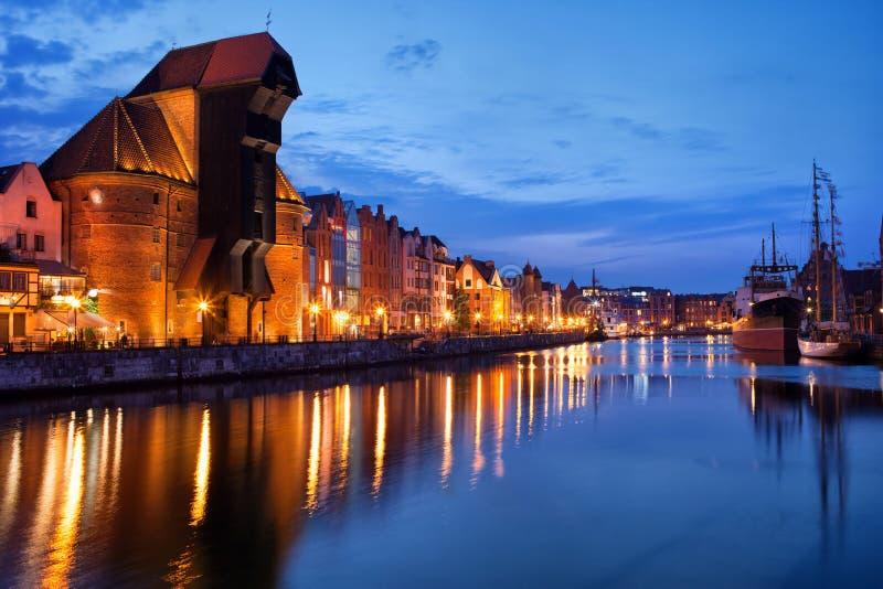 Vue de rivière de Danzig au crépuscule image libre de droits
