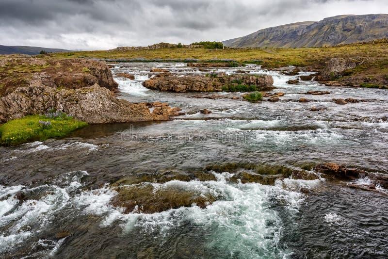 Vue de rivière en parc national de Tingvellir en Islande images libres de droits
