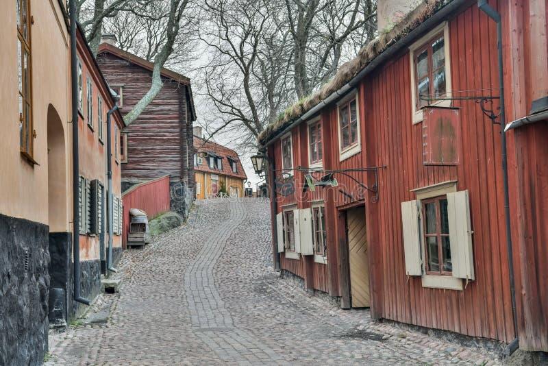 Vue de rue au musée en plein air de Skansen à Stockholm, Suède image stock