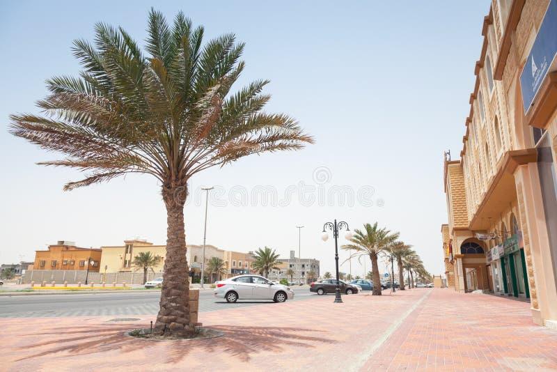 Vue de rue avec la paume, Arabie Saoudite photo stock